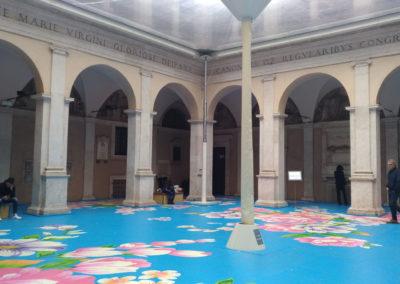 Chiostro del Bramante installazione pavimento di LIN